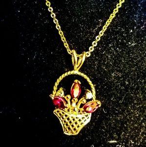 Jewelry - 14k gf flower basket pendant